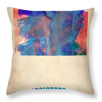 Colorado Watercolor Map Throw Pillow