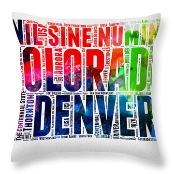 Colorado Watercolor Word Cloud Map  Throw Pillow