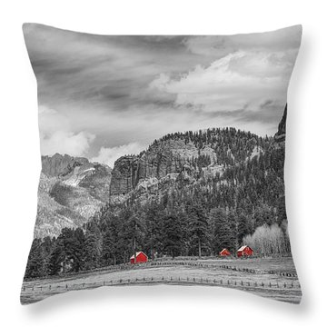 Colorado Western Landscape Red Barns Throw Pillow by James BO  Insogna