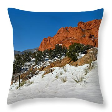 Throw Pillow featuring the photograph Colorado Winter Red Rock Garden by Adam Jewell