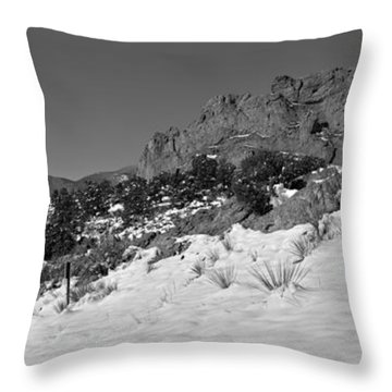 Throw Pillow featuring the photograph Colorado Winter Rock Garden Black And White by Adam Jewell