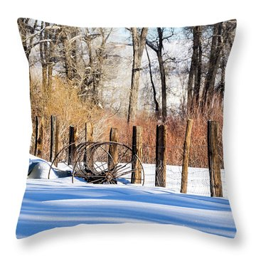 Colorado Winter Snow Scene With Old Farming Rake And Rustic Fence Throw Pillow