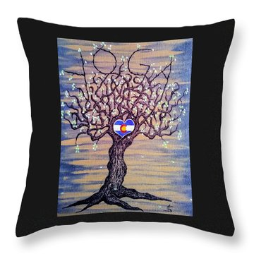 Throw Pillow featuring the drawing Colorado Yoga Love Tree by Aaron Bombalicki