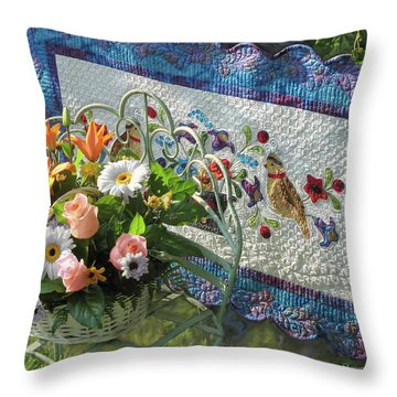 Throw Pillow featuring the mixed media Colordance With Quail Quilt by Nancy Lee Moran
