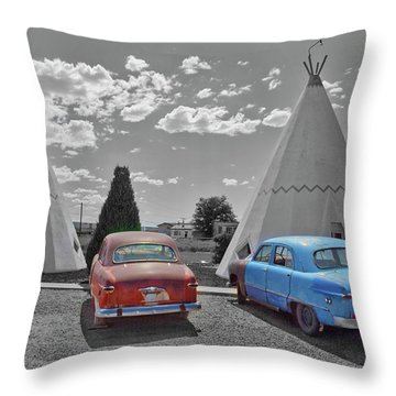 Colored Cars And Tee Pee Motel--holbrook Throw Pillow