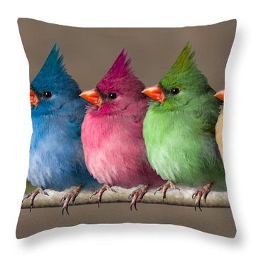 Colored Chicks Throw Pillow