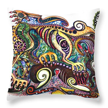 Colored Cultural Zoo D Version 2 Throw Pillow by Melinda Dare Benfield