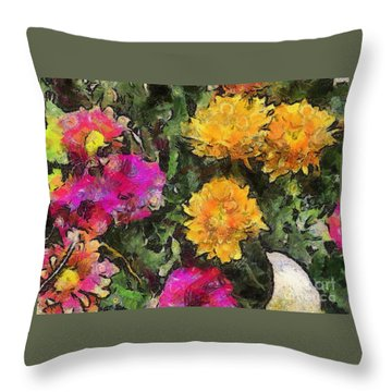 Colored Flowers Throw Pillow