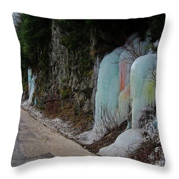 Colored Frozen Waterfalls Along The Skeena  Throw Pillow