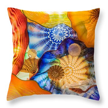 Colored Glass Throw Pillow by Roger Mullenhour