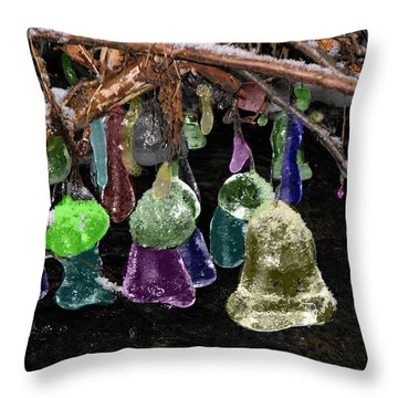 Colored Ice Bells Throw Pillow