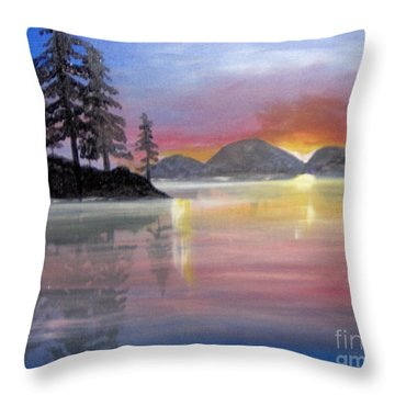 Throw Pillow featuring the painting Colored Lake by Saundra Johnson
