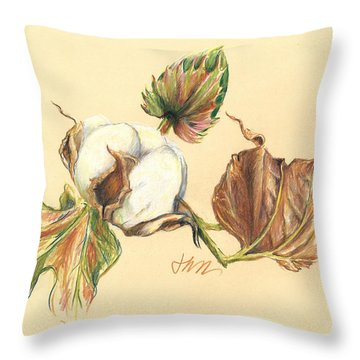 Colored Pencil Cotton Plant Throw Pillow