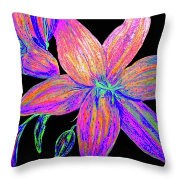 Colored Pencil Flower  Throw Pillow
