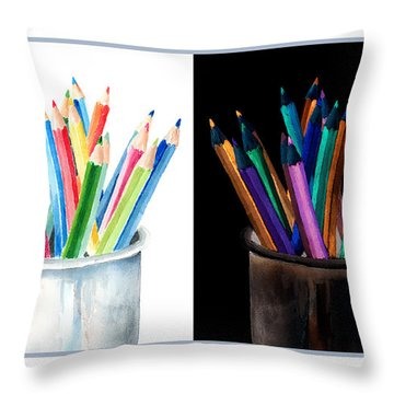 Colored Pencils - The Positive And The Negative Throw Pillow by Arline Wagner