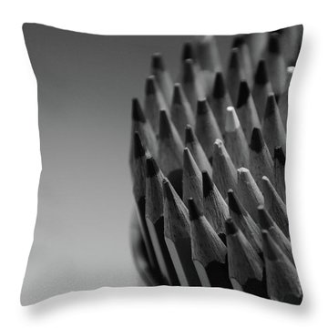 Colored Pencils - Black And White Throw Pillow