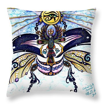 Colored Sacred Scarab In Digital Gold Throw Pillow by Melinda Dare Benfield