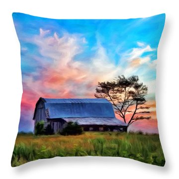 Colored Sunrise Throw Pillow