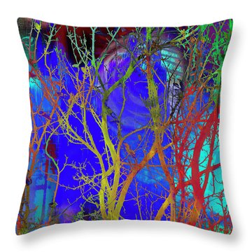 Throw Pillow featuring the photograph Colored Tree Branches by Susan Stone