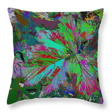 Colorfication - Leafy Colored Throw Pillow