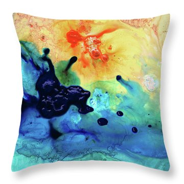 Colorful Abstract Art - Blue Waters - Sharon Cummings Throw Pillow