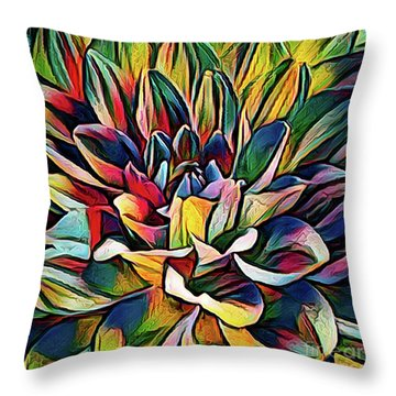 Colorful Abstract Dahlia Throw Pillow