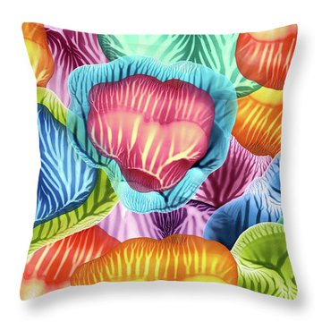 Colorful Abstract Flower Petals Throw Pillow