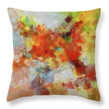 Throw Pillow featuring the painting Colorful Abstract Landscape Painting by Ayse Deniz