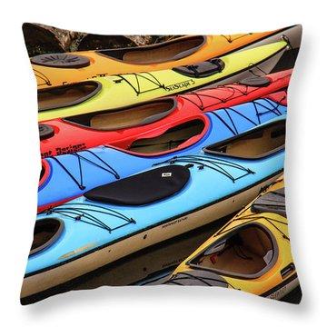 Colorful Alaska Kayaks Throw Pillow