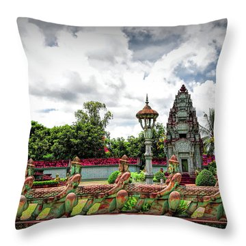 Colorful Architecture Siem Reap Cambodia  Throw Pillow