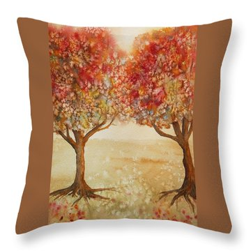 Throw Pillow featuring the painting Colorful Autumn Twin Trees by Kerri Ligatich