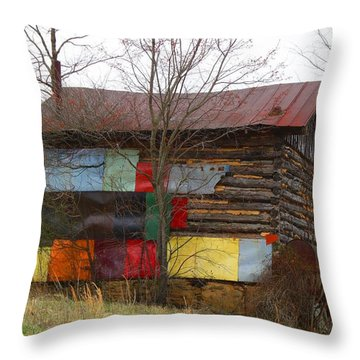 Colorful Barn Throw Pillow by Kathryn Meyer