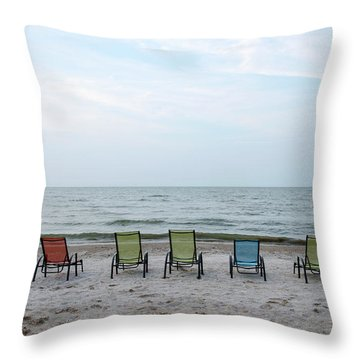 Throw Pillow featuring the photograph Colorful Beach Chairs by Ann Bridges