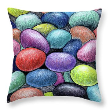 Colorful Beans Throw Pillow by Nancy Mueller