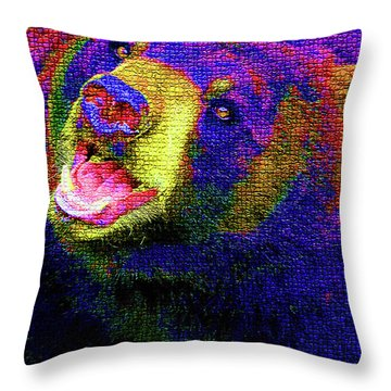 Colorful Bear Throw Pillow by Karol Livote