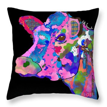 Colorful Bessie The Cow  Throw Pillow by Kate Farrant