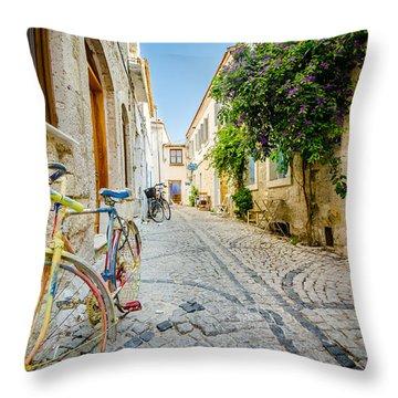 Colorful Bike In An Alacati Street Throw Pillow