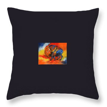 Colorful Bison Throw Pillow