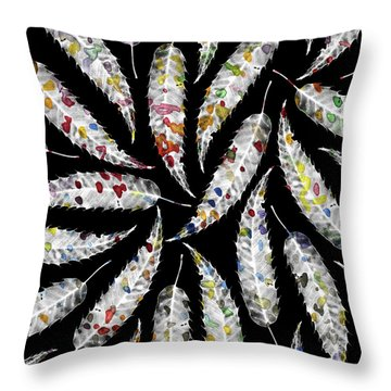 Colorful Black And White Leaves Throw Pillow