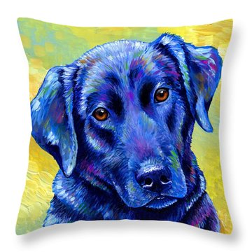 Colorful Black Labrador Retriever Dog Throw Pillow