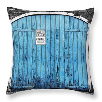 Colorful Blue Garage Door French Quarter New Orleans Color Splash Black And White And Poster Edges Throw Pillow by Shawn O'Brien