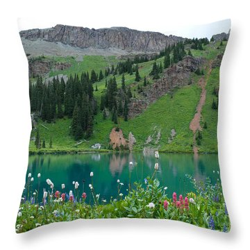 Colorful Blue Lakes Landscape Throw Pillow