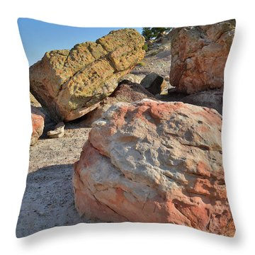 Colorful Boulders In The Bentonite Site On Little Park Road Throw Pillow