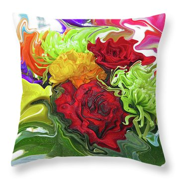 Colorful Bouquet Throw Pillow by Kathy Moll