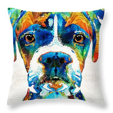 Colorful Boxer Dog Art By Sharon Cummings  Throw Pillow