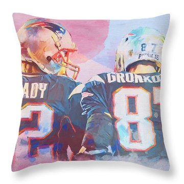 Throw Pillow featuring the painting Colorful Brady And Gronkowski by Dan Sproul