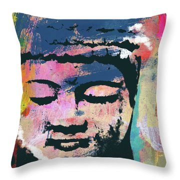 Colorful Buddha 1- Art By Linda Woods Throw Pillow