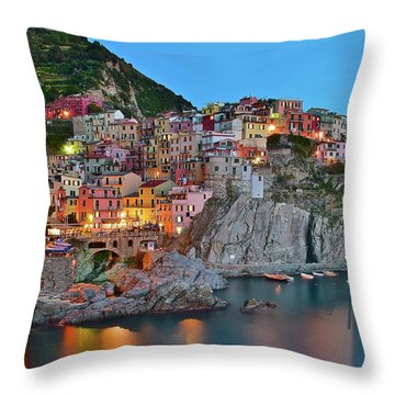 Throw Pillow featuring the photograph Colorful Buildings Colorful Lights by Frozen in Time Fine Art Photography