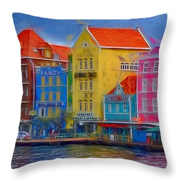 Colorful Buildings In Curacao Throw Pillow