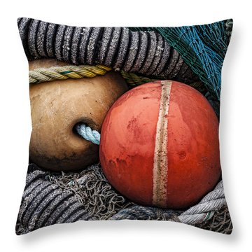 Colorful Buoys And Nets Throw Pillow